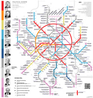 The political map of Moscow Metro. June 2016